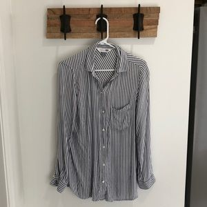 Black and white cotton button down